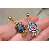 Aztec Sun Tribal Belly Button Ring