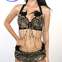 Women's Tribal Indian Rave Burning Man EDC Rave Feathered Bra Top Halter Tassels Belly Dancing Matching Belt Wrap