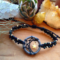 Handmade Half Moon mini Dreamcatcher Bracelet - with Silver Star Charm - dark blue and silver plated beads - adjustable