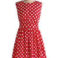 Emily and Fin Pinup Mid-length Sleeveless A-line Too Much Fun Dress in Cherry