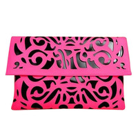 22Pink Cutout Candy Fluorescent Color  Day Clutches Envelope Evening Bag Retro--Pink