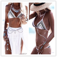 Classic Black White Bathing Suit Women Sexy Bikini Set Cropped Monokini Maillot De Bain Femme Beach Wear Women