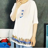 NIKE New fashion letter hook people print couple top t-shirt White