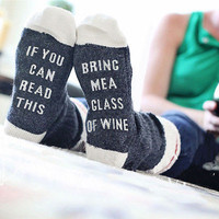 Custom Wine Socks If You can read this Bring Me a Glass of Wine gray white red Color Women Cotton Socks Winter Warm