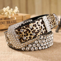 2015 retail women's belt of leopard pattern, leather rhinestone studded belt rivet strap tail belts for women 3.3cm width
