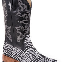 Roper Ladies Bling Sqtoe Faux Leather Sole Boots Sq Toe Glitter Boot Black Silver