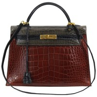 Hermes Tricolor Kelly 32 Alligator Bag, 1992