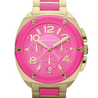 Michael Kors Watch, Women's Chronograph Tribeca Pink Silicone and Gold Tone Stainless Steel Bracelet 43mm MK5745 - First @ Macy's! - Michael Kors - Jewelry & Watches - Macy's