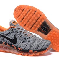 """""""Nike Air Max Flyknit"""" Unisex Sport Casual Leopard Weave Air Cushion Sneakers Couple Running Shoes"""