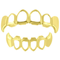 Custom Designer Grillz Fangs Set Top Bottom 14k Yellow Finish