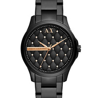 Armani Exchange Ladies Crystallized Quilted Dial Watch