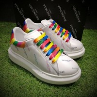 Best Online Sale BaLenciaga 17ss White Rainbow Casual Shoes Men Women Sport Shoes
