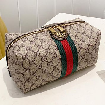 GUCCI New fashion stripe more letter print leather cosmetic bag handbag