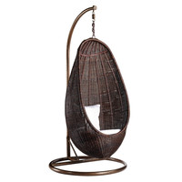 Rattan Hanging Chair with Stand in Chocolate Brown