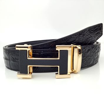 Hermes New Crocodile Belt H Letter Buckle Belt