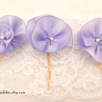 Purple flower hairpins, set of 3 hair pins, lavender wedding accessories, silk flower bridal hairpins, flower girl hair,light purple wedding