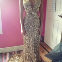 Gold Sequin Long Glamourous Prom Dress/Evening Gown - Size 8/10