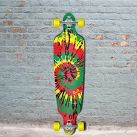 Punked Tiedye Rasta Drop Through Longboard 40""