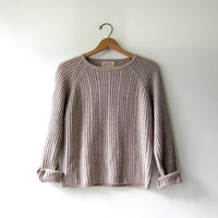 vintage cropped sweater. oatmeal sweater. cable knit sweater