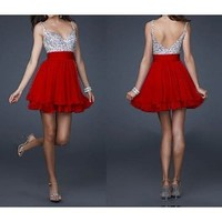 Amazon.com: Cute Silver Sequins and Red Chiffon Short Bridesmaids' Cocktail Ball Evening /Engagement /Graduation/Birthday Party Dress: Everything Else