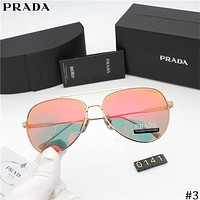 PRADA Tide brand fashion pattern frame mirror color film polarized sunglasses #3