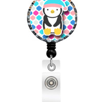 Nina's Lil Bowtique 108135 Jolly Penguin Badge Reel, Nursing Gifts