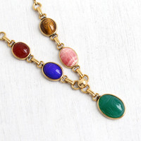 Vintage 14k Yellow Gold Filled Scarab Necklace - 1950s Carved Precious Colorful Stone Lapis, Carnelian Egyptian Revival Beetle Bug Jewelry