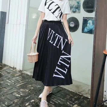 """Valentino""Woman's Leisure  Fashion Letter Printing  Spell Color Short Sleeve Long skirt Two-Piece Set Casual Wear"