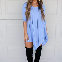Maybe Baby Slate Blue V-Neck Quarter Sleeve Dress