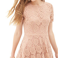 FOREVER 21 Floral Lace A-Line Dress Blush