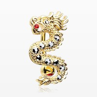 Golden Fire Dragon Lore Reverse Belly Button Ring