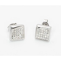 925 Sterling Silver Cubic Zirconia Stud Earrings 8mm Square White Micropave CZ