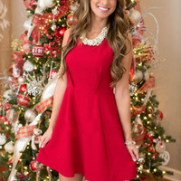 Red Sleeveless A Line Pleated Mini Dress