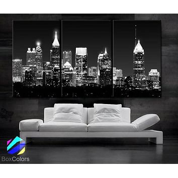 "LARGE 30""x 60"" 3 Panels Art Canvas Print Beautiful Atlanta skyline light buildings Wall Home (Included framed 1.5"" depth)"
