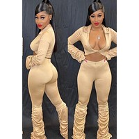 Women Sexy Ruched Two Piece Fashion Crop Top Pant Set