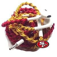 MyBuds Wrapped Tangle-Free Earbuds for iPhone | NEW 49ers | with Microphone and Volume Control