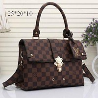 LV Women Shopping Bag Leather Satchel Shoulder Bag Crossbody F Brown+Tartan