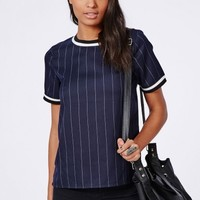 Missguided - Pinstripe Sports Rib Shell Top Navy