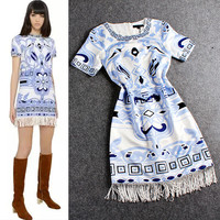 White Short Sleeves Printed Tasseled Hem Mini Dress