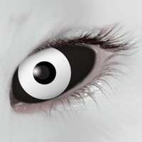 Mesmereyez Black White Scleral Full Eye Coloured Contacts