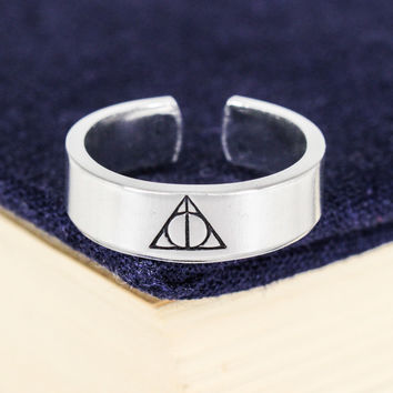 Deathly Hallows Cuff Ring - Harry Potter - Adjustable Aluminum Cuff Ring