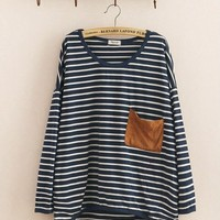 Winter Cotton Loose Bat Sleeves Pocket Striped Sweater Blue Ivory