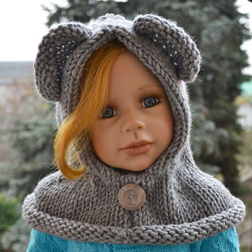 Knitted  hood - bear scarf - gray - bear hat - kids Bear hat - kids scarf - child scarf
