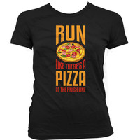 Funny Running T Shirt Run Like There's A Pizza At The Finish Line Workout Tops Gym Clothing Fitness T Shirt Pizza Lover Ladies Tee WT-26