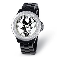 Disney Ladies Size Maleficent Crystal Black Watch