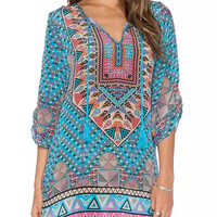 Tribal Print Swimsuit Coverup Dress