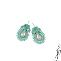 Turquoise, handcrafted soutache earrings, unique, golden crystal jewelry