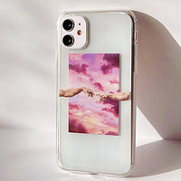 Creation of Adam Clouds Clear Phone Case