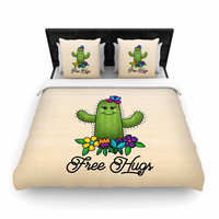"Noonday Design ""Free Hugs Cactus"" Green Pastel Woven Duvet Cover"