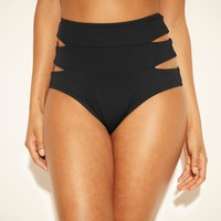 Women's Cut Out High Waist Bikini Bottom - Shade & Shore™ Black